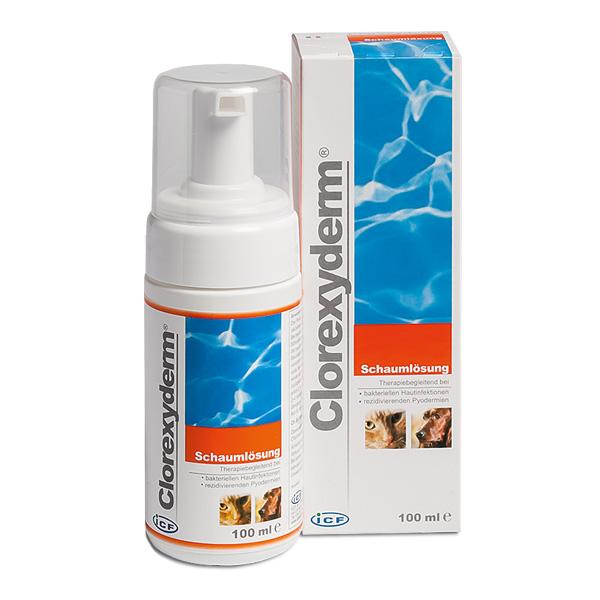 Clorexyderm Schaumlösung 100ml für Hunde und Katzen zur Hautreinigung von Livisto