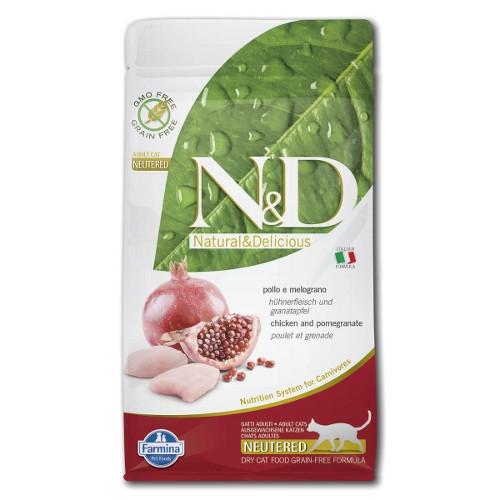 Farmina Natural & Delicious Grain Free Cat Adult Neutered Chicken + Pomegranate Trockenfutter fü