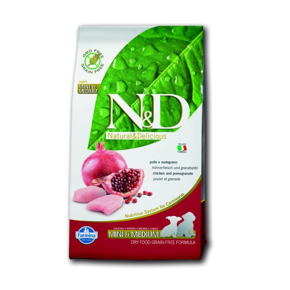 Farmina Natural&Delicious Grain Free Dog Puppy S/M Chicken+Pomegranate Trockenfutter für Welpen